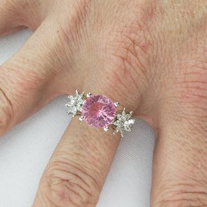 Silver & Pink Large Stone Ring Size 9